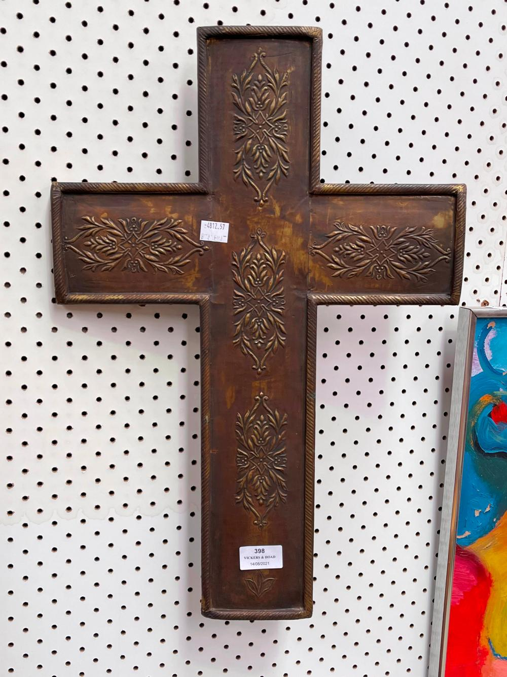Pressed brass and wood cross, approx 51cm L