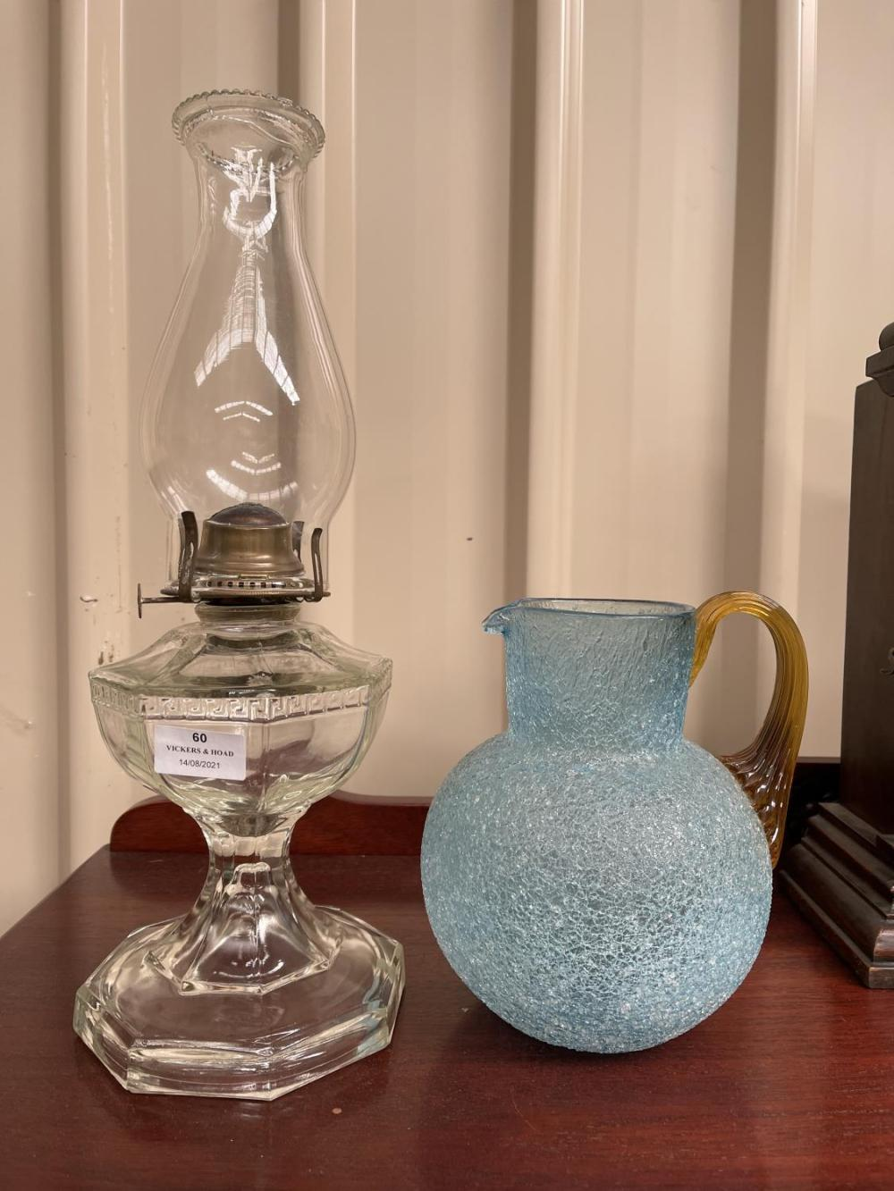 Antique glass lamp with flue and blue and amber jug (2)