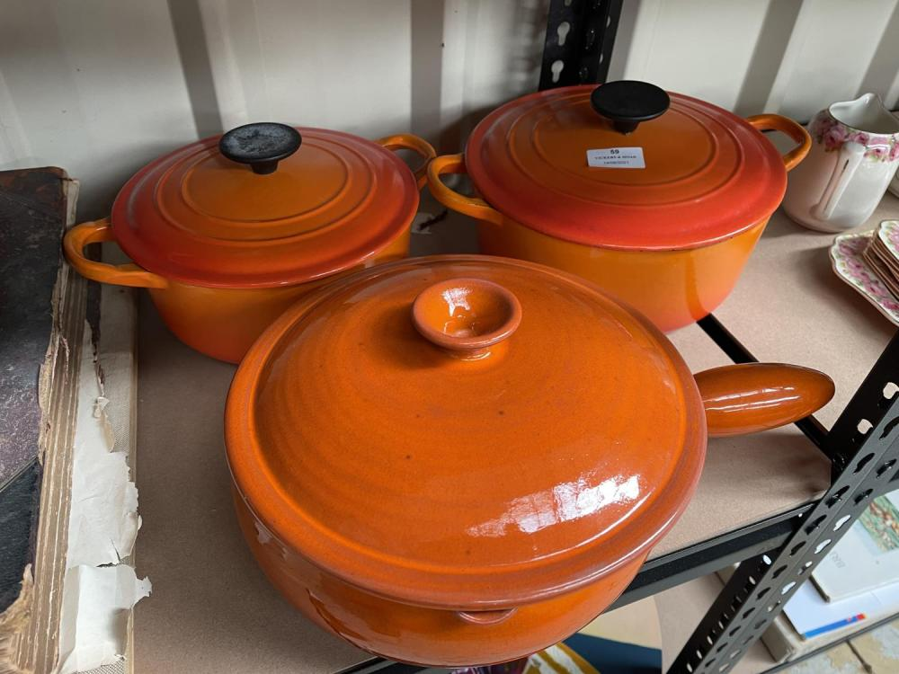 French cookware, two marked Le Creuset, France (3)