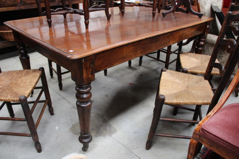 Large antique cedar and pine turned leg country table, approx 174cm L x 116cm D x 79cm H