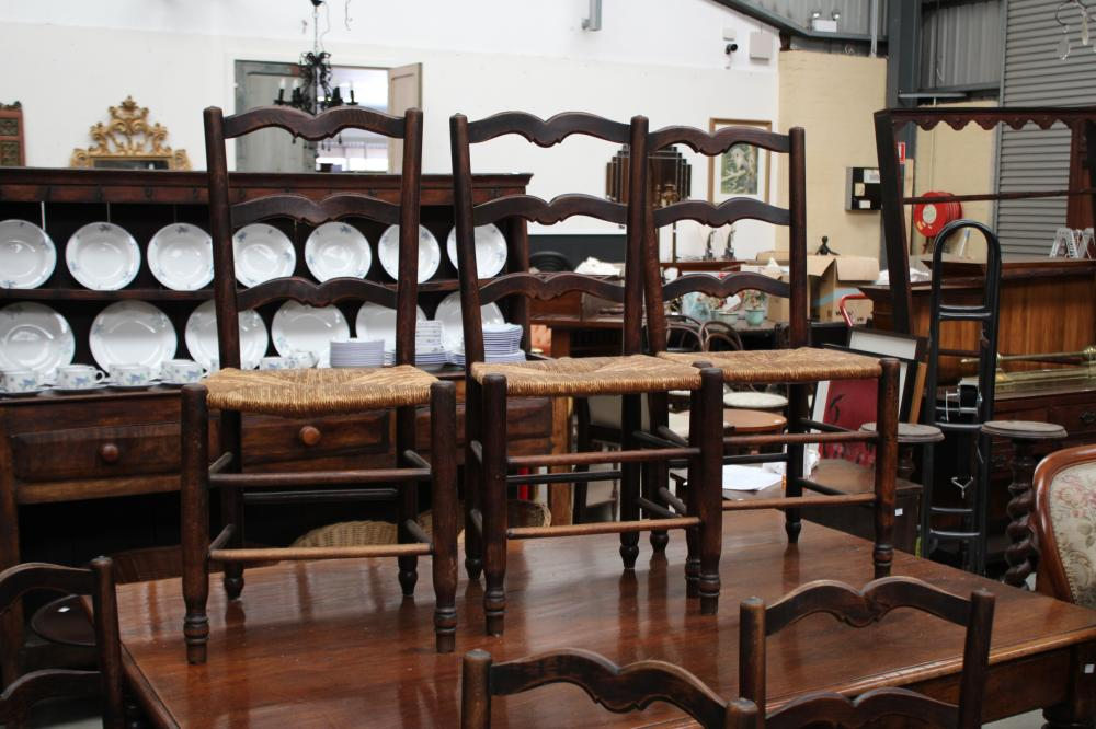 Set of six antique French oak ladder back rush seated country chairs (6)