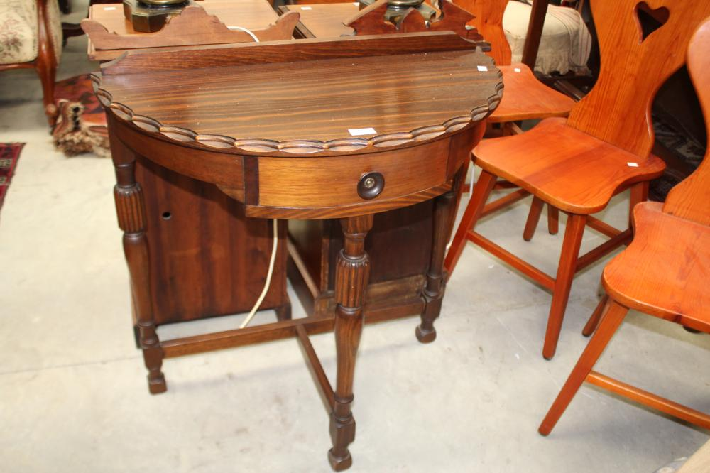Art Deco single drawer demi lune hall table, approx 79cm H