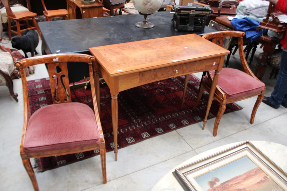 Pair of painted Empire style chairs along with a Modern Hall table, approx 82cm H x 100cm W x 45cm D (3)
