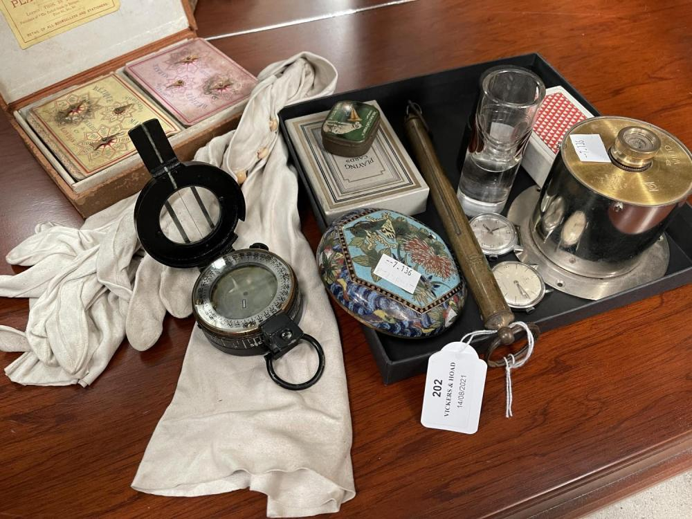 Assorted estate items, two vintage Gents watches, Military compass, brass bean scales, tin, etc