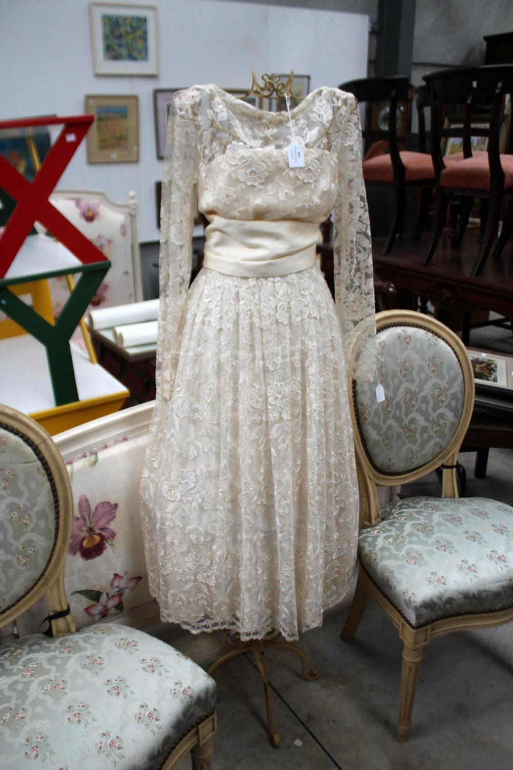 Vintage wedding dress ex Powerhouse Museum on a wired mannequin, approx 148cm H