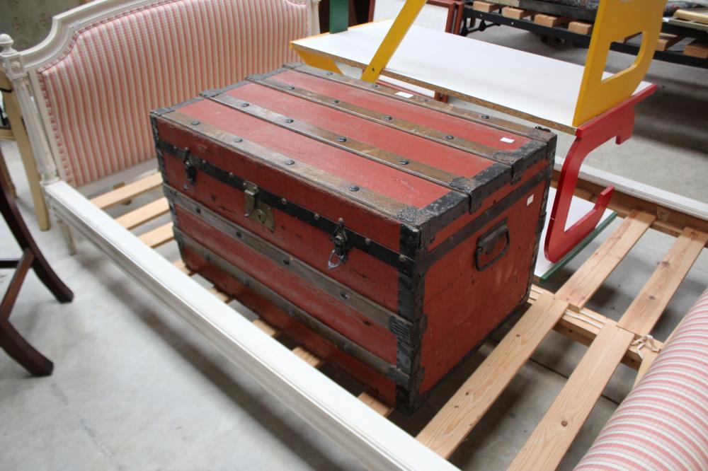 Antique travel trunk canvas and metal, approx 44cm H x 77cm W x 45cm D