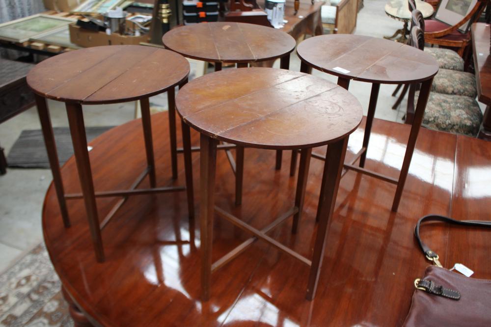 Set of four vintage folding wine tables, each approx 44cm H x 37cm Dia (4)