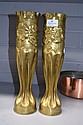 Pair of French WWI brass trench art vases. 34cm