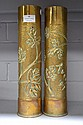 Pair of French WWI brass trench art vases standing