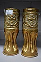Pair of German trench art vases decorated with the