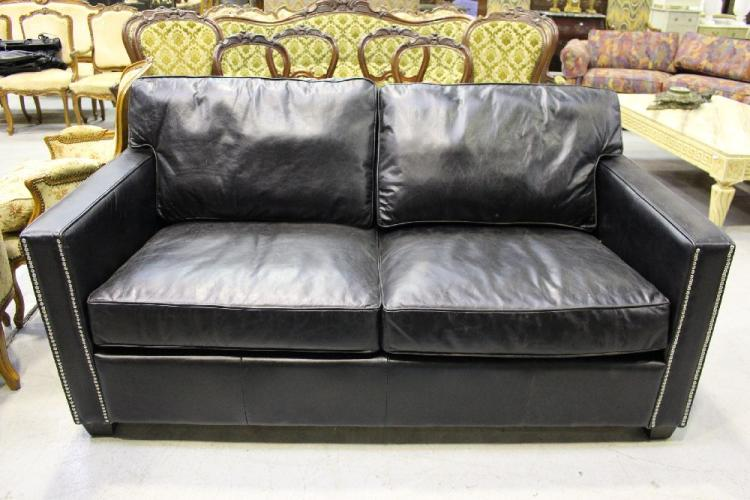 Chelsea two seater black leather sofa as new approx 172c for Chelsea leather sofa