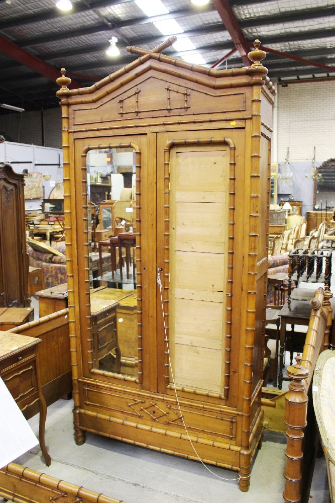 lockers for home antique faux bamboo two door armoire mirror missing 22768