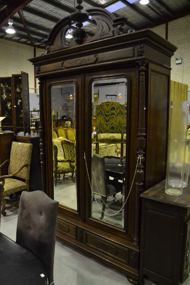 antique french henri ii style walnut two door armoire with. Black Bedroom Furniture Sets. Home Design Ideas