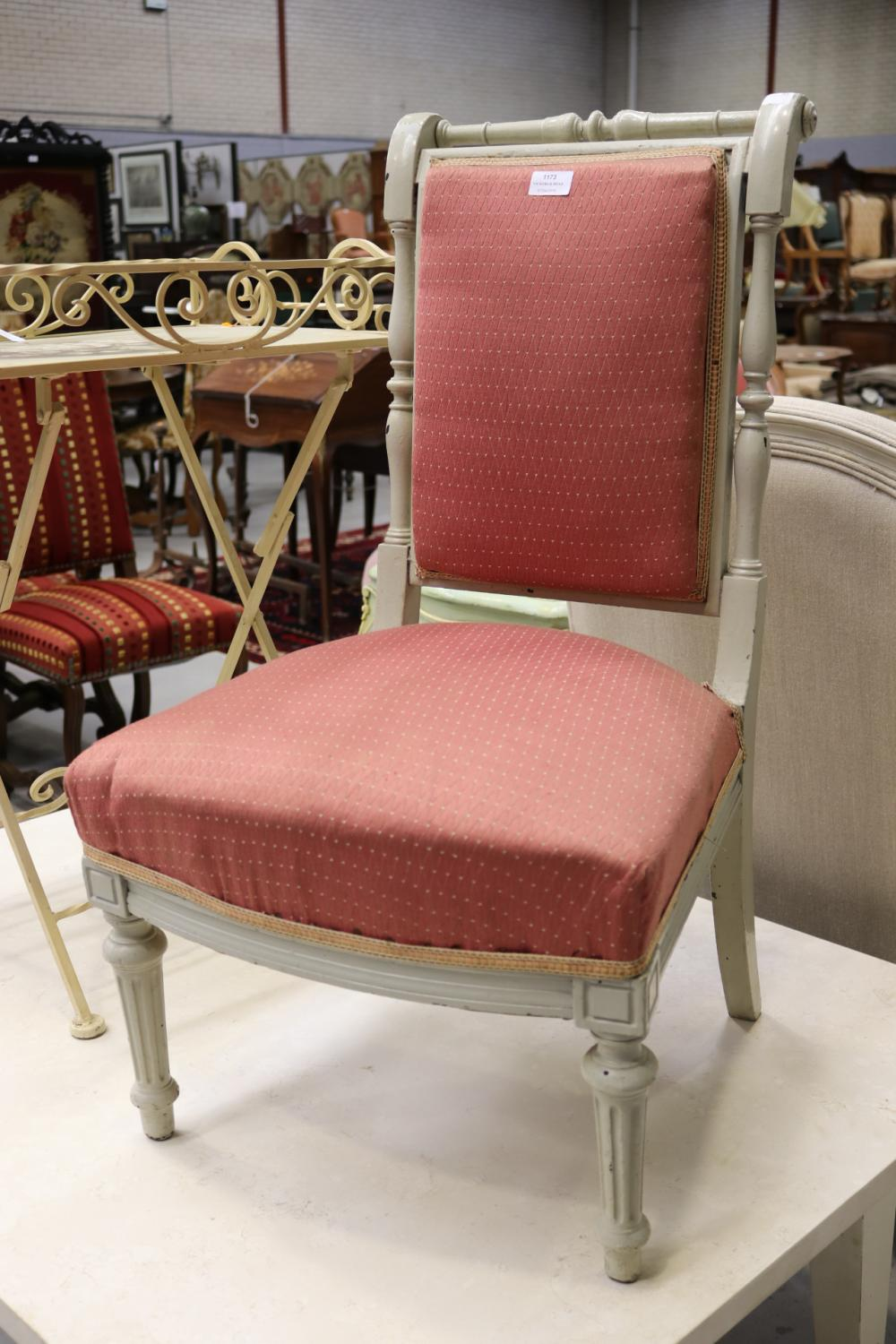Antique French Louis XVI style white frame bedroom chair