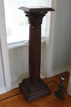 Antique French carved oak pedestal, approx 135cm H