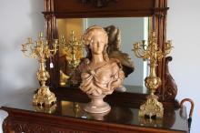 Impressive pair of antique French bronze seven light candelabra, each approx 67cm H (2)