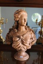 Large Antique Goldscheider Terracotta Bust of a lady, impressed marks to back, numbers 3754/59 signed L and impressed Fabrique En Autriche, approx 70cm H x 50cm W