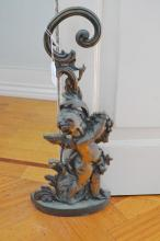 Cast bronze figural door stop, approx 47 cm high