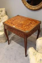 Vintage French parquetry games table, twist fold over top with playing surface, decorated with bronze mounts
