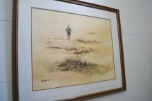 Leng Joon Wong (Singapore) watercolour fisherman, dated '79, approx 64.5 cm x 50 cm