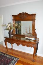 Console with matching mirror, console approx 161cm  L x 93cm H x 56cm D, mirror approx 122cm H x 12cm W