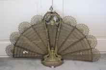 French bronze fan fire guard of folding fan design, approx 63cm H