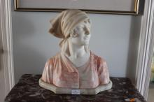 Antique French two colour carved alabaster bust of a young female