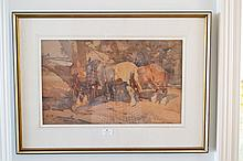 Harold Septimus Power (1878-1951) Australia, Clydesdales under a tree, watercolour on paper, S.L.R, approx 31.5cm H x 51.5cm