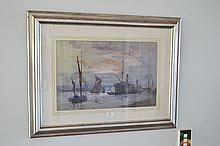 Arthur James Wetherall Burgess (1879-1957) Australia, Harbour Scene, water colour on paper S.L.R, approx 33cm H x 50cm W