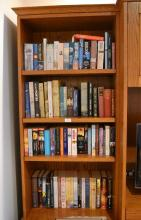 Four shelves of novels hard and soft covers