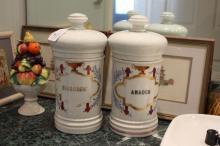 Two antique French porcelain lidded chemist jars (2)