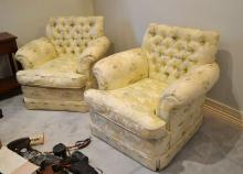 A fine pair of vintage lounge armchairs well upholstered in lemon and blue silk, down filled