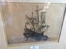 John Charles Alcott (1888-1973) Australia, engraving titled H.M.S Roebuck signed on margin in panel Edition 16/50, ex Lennox Gallery