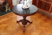 Antique French mahogany marble topped pedestal table, approx 81cm Dia x 75cm H