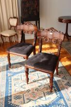 Pair of fine Antique Scottish Goncalo Alves chairs, Ex J Hawkins (2)