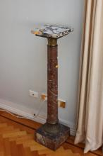 Antique French marble jardiniere stand, gilt bronze mounts. Approx 112cm H