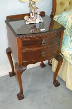 Pair of cedar Chippendale style two drawer bedside cabinets, approx 69cm H x 42cm W x 39cm D (2)