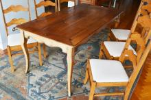 Provincial French style cherry wood dining table, shaped apron, slender tapering legs, peg joined construction, approx 77cm H x 179cm L x 89cm W
