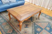 Provincial French style cherry wood coffee table, approx 119cm L x 76cm D x 47cm H