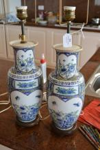 Pair of Oriental blue and white lamps (2)