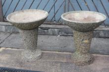 Pair of French Modernist garden planter bowls on stands (2)