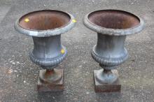 Pair of antique French cast iron garden urns, each approx 45cm H x 33cm diameter (2)