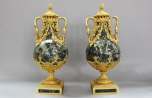 Impressive pair of French 19th Century green marble and bronze Cassolettes, each approx 56cm H (2)