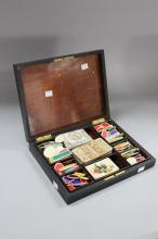 Antique French Napoleon III cased games set, to include cards, ivory chips etc, approx 30cm x 23cm