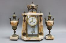 French mantle clock and garnitures, has key (in office) and pendulum, clock approx 48cm H x 28cm W (3)