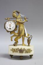 French figural mounted clock of a fallen virgin, approx 24cm H