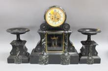 Antique French black slate & marble mantle clock & garnitures, approx 47cm H x 36cm W