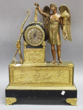 Fine antique French figural Empire mantle clock, with tole section to front, has key (in office) and pendulum, approx 58cm H x 41cm W x 15cm D