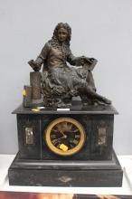 French spelter figural mantle clock ,of a Scholar no key, has pendulum, approx 50cm H x 37cm W