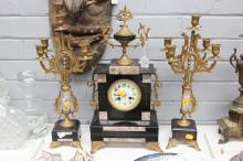 Antique French mantle clock and garnitures, has key (in office) and pendulum, broken marble pieces for one garniture (in office), approx 50cm H (3)